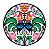 Polish floral embroidery with roosters - traditional folk pattern — Stock Vector