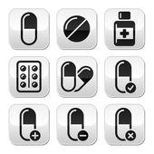Pills, medication vector buttons set — Stock Vector