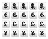 Currency exchange buttons set - dollar, euro, yen, pound — Stock Vector