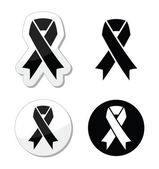 Black ribbon - mourning, death, melanoma symbol — Stock Vector
