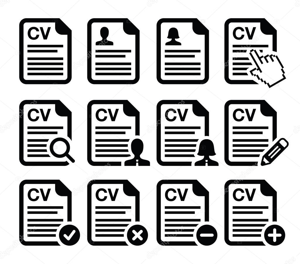 cv curriculum vitae resume vector icons set stock vector cv curriculum vitae resume vector icons set stock vector 23527747 employment hr