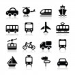 Transport, travel vector icons set isoalted on white — Stock Vector