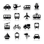 Transport, travel vector icons set isoalted on white — Stock Vector