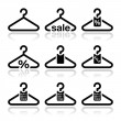 Hanger, sale, buy 1 get 1 free icons set - Stock Vector