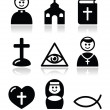 Religion, catholic church vector icons set — Stock Vector #23699075