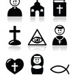 Stock Vector: Religion, catholic church vector icons set