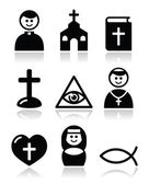 Religion, catholic church vector icons set — Stock Vector