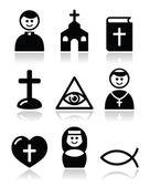 Religión, iglesia católica conjunto de iconos de vector — Vector de stock