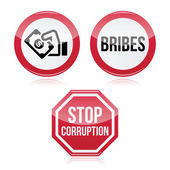 No bribes, sto corruption red warning sign — Stock Vector