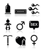 Contraception methods, sex vector icons sex — Stock Vector