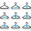 Sale, buy 1 get 1 free  hanger icons set - Stock Vector