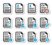 CV - Curriculum vitae, resume vector icons set — Stock Vector