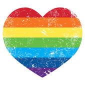 Eşcinsel hakları gökkuşağı retro kalp bayrağı — Stok Vektör