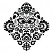 Folk embroidery with flowers - traditional polish pattern in monochrome — Stock Vector