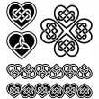 Celtic heart knot - vector symbols set — Stock Vector