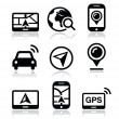 Stock Vector: GPS, navigation travel vector icons set