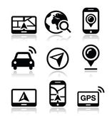 GPS, navigation travel vector icons set — Stock Vector