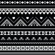 Aztec seamless pattern, tribal black and white background — Stock Vector