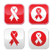 Red ribbon - AIDS, HIV, heart disease, stroke awereness sign — Stock Vector