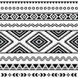 Stock Vector: Tribal seamless pattern, aztec black and white background