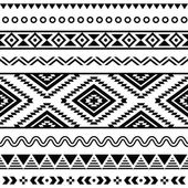 Tribal seamless pattern, aztec black and white background — Stock Vector