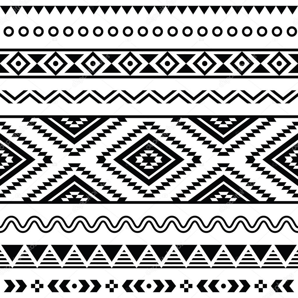 Tribal seamless pattern  aztec black and white background - Stock    Black And White Aztec Pattern Background