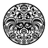 Polish floral embroidery with roosters - monochrome traditional folk pattern — Stock Vector