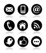 Kontakt, web, blog und social media icons - twitter, facebook, rss-runde — Stockvektor