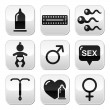 Contraception methods, sex vector buttons sex - Stock Vector