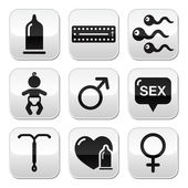 Contraception methods, sex vector buttons sex — Stock Vector