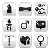 Contraception methods, sex vector buttons sex — Stock Vector