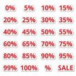 Retail sale percents vector red icons set - Stock Vector