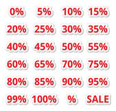Retail sale percents vector red icons set — Stock Vector