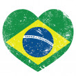 Brazil retro heart shaped flag — Stock Vector
