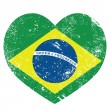 Brazil retro heart shaped flag - Stock Vector
