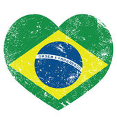 Brasilien retro herzförmige flagge — Stockvektor
