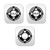 Life belt, help, s.o.s. vector buttons set — Stock Vector