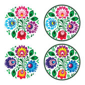 Ethnic round embroidery with flowers - traditional vintage pattern from Poland — Stock Vector