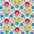 Seamless floral polish pattern - ethnic background - Imagen vectorial