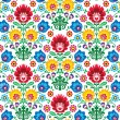 Seamless floral polish pattern - ethnic background - Stockvektor