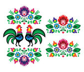 Polish ethnic floral embroidery with roosters - traditional folk pattern — Stock Vector