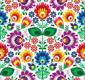 Seamless traditional floral polish pattern - ethnic background — Stock Vector