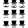Mustache or moustache with hat and glasses icons set — Imagens vectoriais em stock