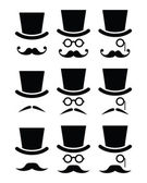 Mustache or moustache with hat and glasses icons set — ストックベクタ