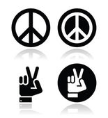 Peace, hand gesture vector icons set — Stock Vector