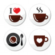 I love coffee labels set — Stock Vector