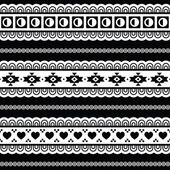 Seamless tribal pattern, aztec black and white background — ストックベクタ