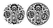 Folk embroidery with flowers - traditional polish round pattern in monochrome — Stock Vector