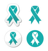 Teal ribbon - ovarian, cervical, and uterine cancers symbol — Stock Vector