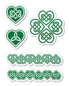 Celtic green heart knot - vector symbols set — Stock Vector